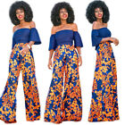 2Pcs African Print Women Off Shoulder Tops + Pants Dashiki High Waist Trousers