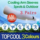 3 Pairs Cooling Arm Stretch Sleeves Sun Block UV Protection Sports Outoors Cover