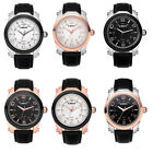 Stainless Steel Water Resistant Analog Movement Genuine Leather Mens Wristwatch