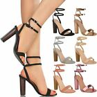 Womens Ladies Barely There High Heel Sandals Strappy Metallic Celeb Shoes Size