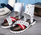 korean mens shoes real leather ankle boots rivet sandal stars zipper flats Roman