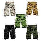Mens Cotton Summer Army Combat Camo Work Cargo Shorts Pants Trousers J5A4