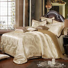 New Beige Free ship Queen/King Combed Cotton 4pc duvet cover set/bedding set