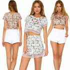Women Summer Sequin Cropped Tops Short Sleeves Basic Tees Casual T-shirt Blouse