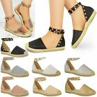 Womens Ladies Espadrilles Ankle Strappy Flat Summer Sandals Studded Shoes Size
