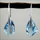 Fab Aqua Blue Genuine Crystal 925 Drop Silver Earrings made with Elements Hot
