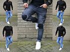 Young fashion destroyed Cargo Herren UK Style Skinny Fit Men Röhre Jeans Hose