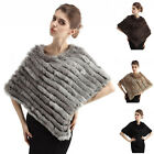 Style Warm Real Farms Rabbit Fur Knitted Wrap Shawls Cape Poncho Scarf Black Top