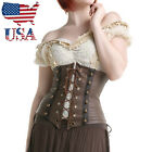 US Brown Faux Leather Corset Underbust Waist Cincher Women Cupless Bustier