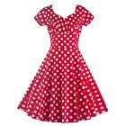 Special Boat-Neck Polka Dot Dress Daily Women Casual Housewife Dress Red