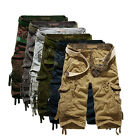Mens Casual Military Combat Camo Cargo Shorts Pants Work Sports Trousers 29-38