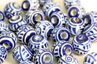 Blue -White Geometrical Ball   Glazed Bead   Hand Painted in Peru  V010cb  Beads