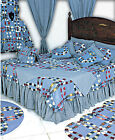 DENIM DOUBLE WEDDING RING Patchwork Quilt Set 4-pc TWIN * 6-pc QUEEN *6-pc KING