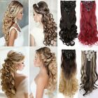 100% Mega Thick Clip In Hair Extensions Long Wavy 8 Pcs Full Head Hair Extention