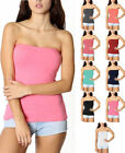 Layering Basic Stretchy Cotton Blend Strapless Tube Top Shelf Bra S~L