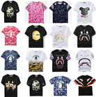 New Mens Bape Camo Shark Head Crew Neck Short Sleeve Tshirts T-shirt Tee Tops