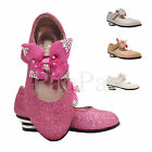 Girls Sandals Children Kids Bow Wedding Bridesmaid Low Heels Party Shoe Size