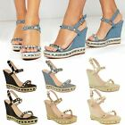 Womens Ladies Studded Wedge Sandals Strappy Platforms Denim Summer Shoes Size