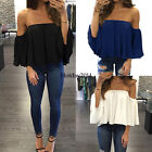 Women's Cold shoulder Summer Long Sleeve Loose Blouse Casual Shirt Tops T-Shirt
