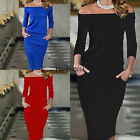 Womens Summer Bodycon Off Shoulder Dress Ladies Party Evening Pencil Dress