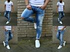 DESTROYED HERREN UK STYLE Fashion SKINNY LIGHTBLUE STONEDWASH USED JEANS HOSE
