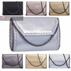 WOMEN'S NEW SHINY FAUX LEATHER CHAIN TRIMMED PARTY CLUTCH HANDBAG