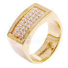 R2 Men's Stainless Steel Gold 3 rows CZ SET Pinky Ring Size 8-13