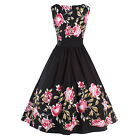 50's 60s Rockabilly Swing Evening Pin Up Retro Floral Dress Flared Skater Dance
