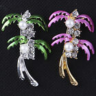 Fashion Lady Coconut Tree Crystal Pearl Wedding Badge Bouquet Brooch Pin Jewelry