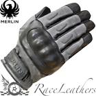 MERLIN RANTON GREY WATERPROOF WAX COTTON & LEATHER CLASSIC MOTORCYCLE GLOVES