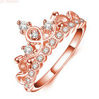 Hot Sale Women Jewelry Rose Gold Plated AAA Zircon Crown Ring Size 5 6 7 8 9 10