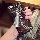 For iPhone Bling Glitter Metal Chain Tassel Sparkle Soft Silicone Case Cover