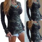 Fashion Womens Summer Long Sleeve Shirt Casual Blouse Cotton Tops Camo T Shirt