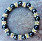 Black Magnetic Hematite Therapy bracelet With Black & Gold Spacers ALL SIZES