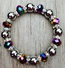 Magnetic Hematite Therapy bracelet with colorful AB colored glass ALL SIZES
