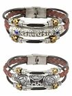 Surfer Tribal Genuine Leather Beads Bracelet Wristband,7.5 Inches,Womens,Brown