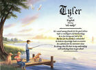 """Boy Fishing with Dog"" Personalized Name Meaning Birthday Print"