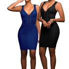 Womens Night Out Parties Dresses Holiday Clubing Parties Shirt V-Neck Mini Dress