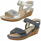 Clarks Girls Harpy Myth Silver or Denim Blue Leather Wedge Sandals F Fitting
