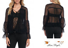 FREE PEOPLE Sz LARGE Far Away Lace Top Black New Tags bt