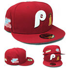 New Era Philadelphia Phillies Cardinal Fitted Hat MLB 1980 World Series Patches