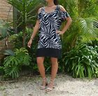 Ladies Rainforest print open shoulder dress in Black, Khaki or natural
