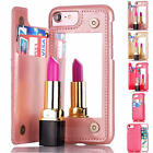 Magnetic Flip Mirror Hard Cases With Wallet Card Slot Cover For iPhone 7 6S Plus