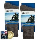 2pk Men's or Women's Mountain Lodge Merino Wool Socks Thermal Hiking Crew