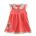 Flowers Embroidery Summer Dress Red Cotton Mini Sleeveless Nova Cotton SZ 2T-6T