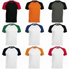 BRAND NEW MENS KARIBAN 100% COTTON BASEBALL CONTRAST T SHIRT CREW NECK 2 COLOURS