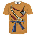 Men Chinese Characters 3D Print T-Shirt Casual Short Sleeve Orange Graphic Tee