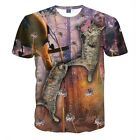 Fashion Casual Short Sleeve Graphic Tee Summer Men 3D Cats Print Funny T-Shirt
