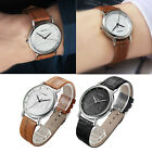 Fashion Men Womens Leather Stainless Band Steel Quartz Analog Wrist Watch