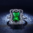 Cute Nobby Size 6,7,8 Green Emerald Cut 18K Gold Filled Women's Engagement Rings